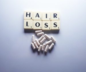 Hair Loss spelled out in scrabble bricks