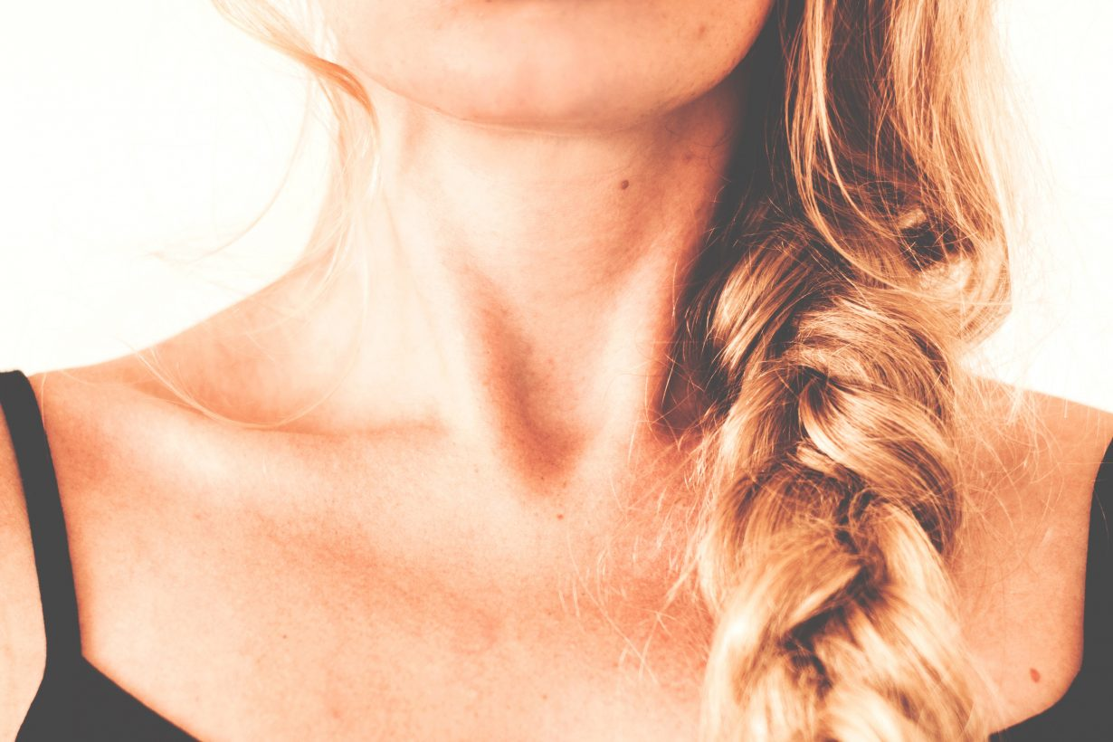 close up of a woman's neck