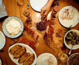birds eye view of a Thanksgiving dinner spread on a table