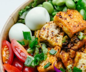 bowl of vegetables with tofu