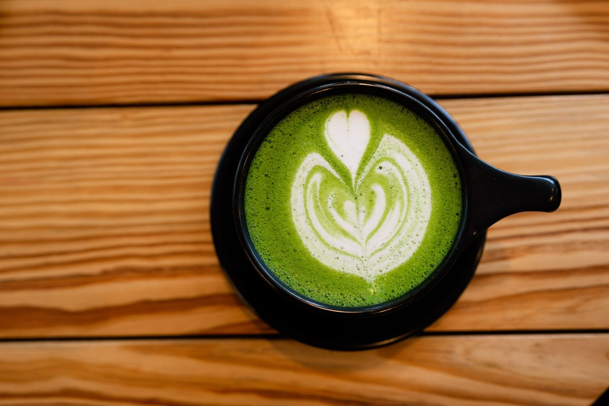 cup of a green tea latte