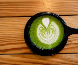 cup of a green tea latte