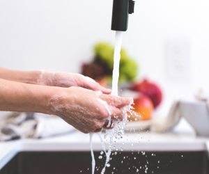 hands under a faucet of running water