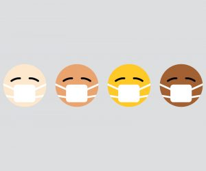 illustrated faces with mouth guards