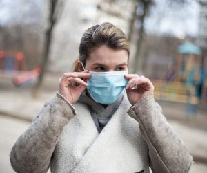 woman wearing mouth guard mask
