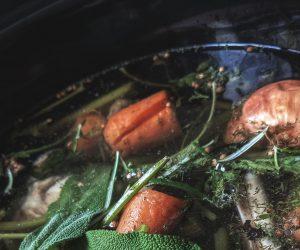 photo of bone broth on stove