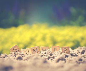 scrabble blocks spelling summer