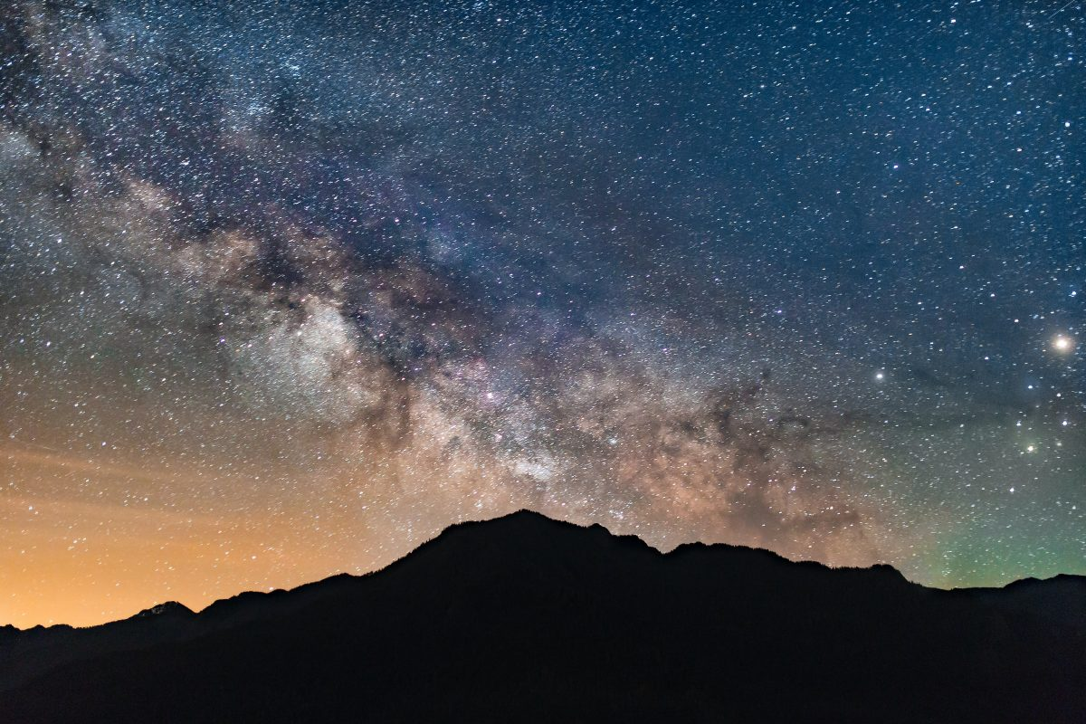 mountain against the milkyway in the night sky