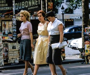 retro women walking down the street