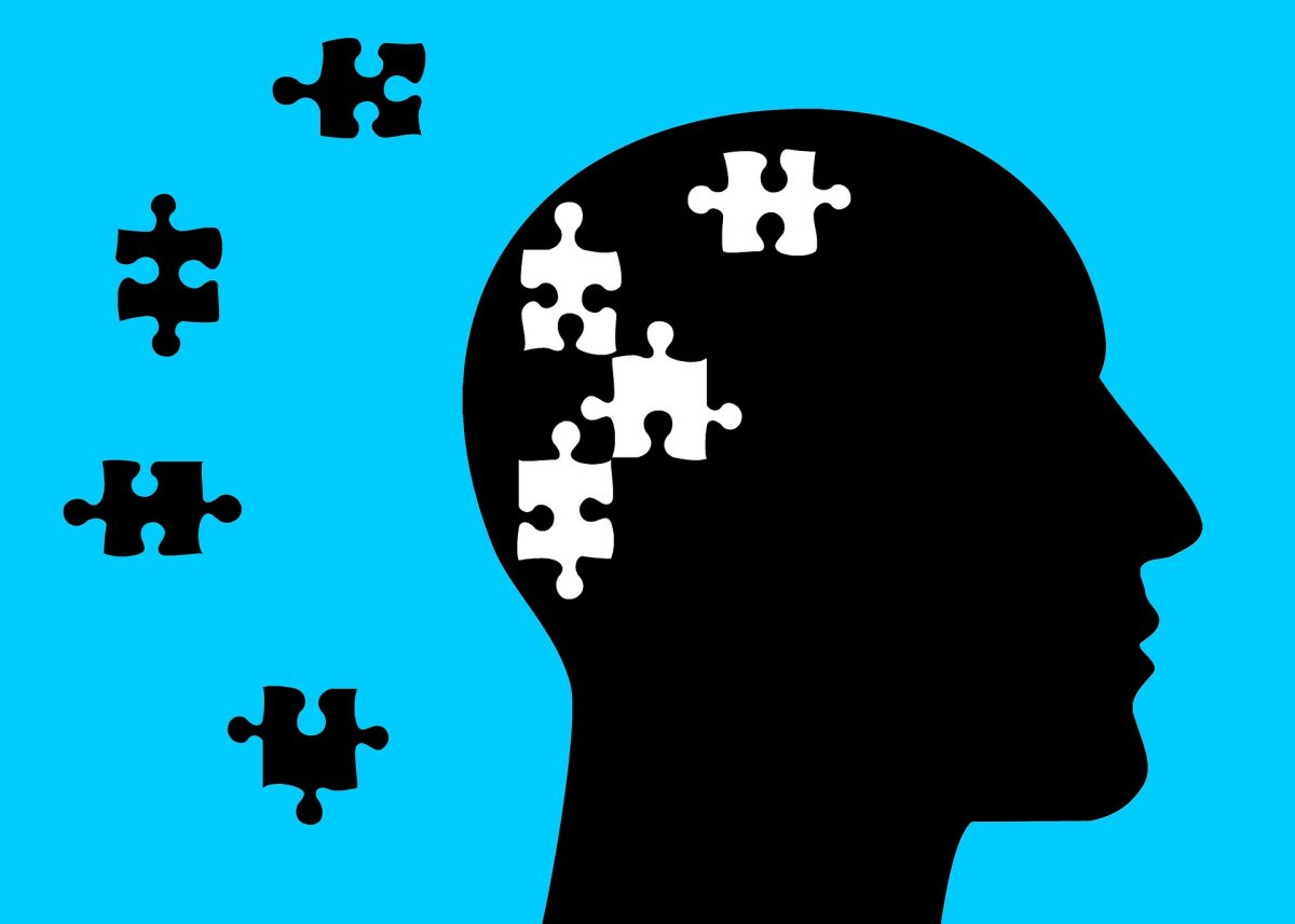 illustration of a head with puzzle pieces missing in the head
