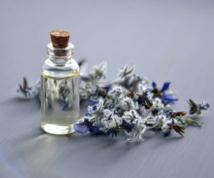 essential oil bottle with a lavender sprig