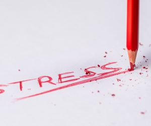 the word stress written in red pencil