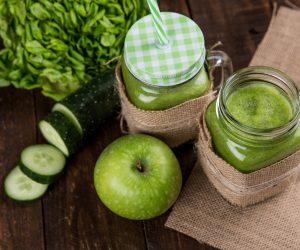 green juice in jars
