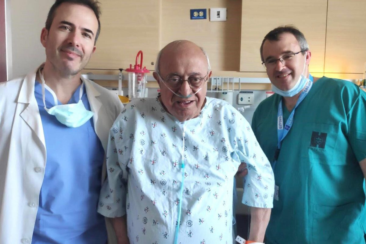 From left, Dr. José Cohen, David Avital and Dr. Josh E. Schroeder at Hadassah Medical Center after Avital's local-anesthesia spinal surgery.