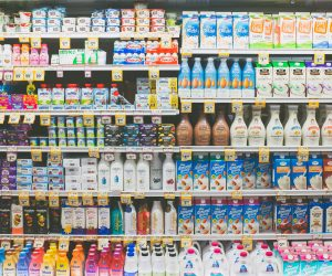 Dairy aisle in a supermarket