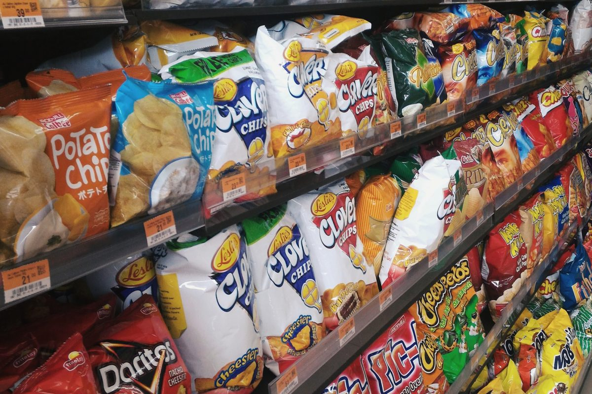 shelves of bagged chips