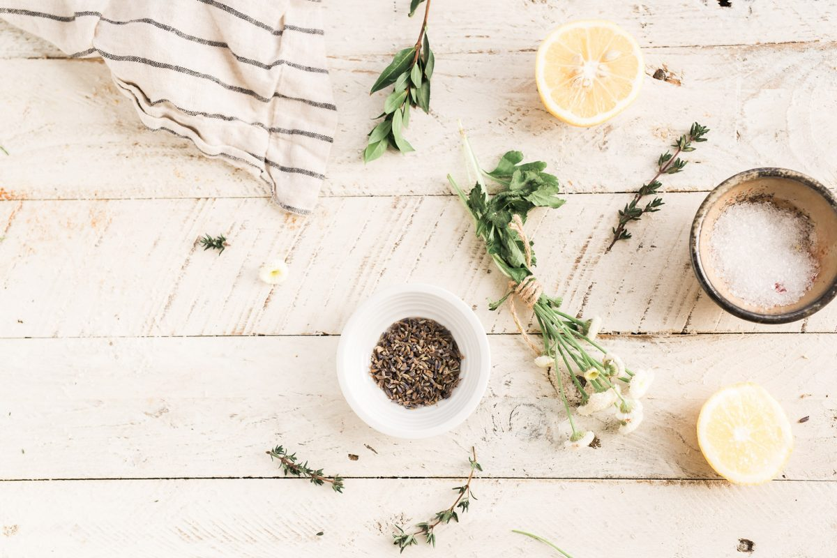 herbs and salt in a bowl