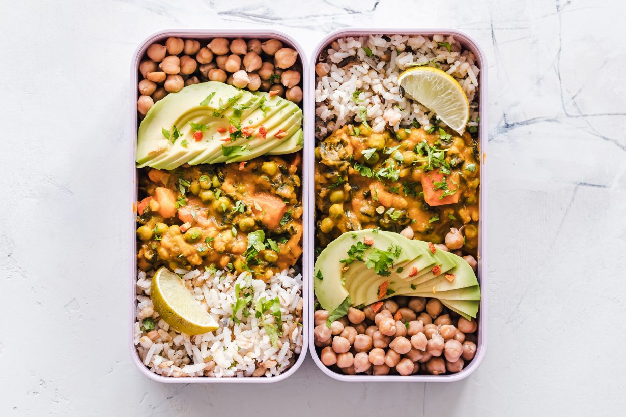 avocado and bean salad in white dishes
