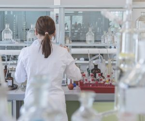 photo of a female lab worker in a science lab
