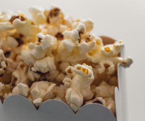close up of a popcorn box filled with popcorn