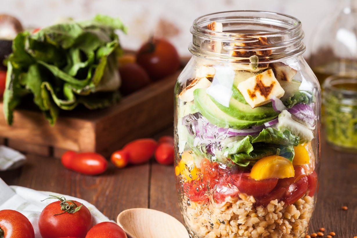 mason jar full of a salad