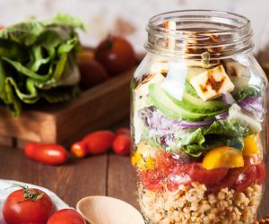 mason jar full of a salad