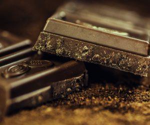 close up of dark chocolate bars