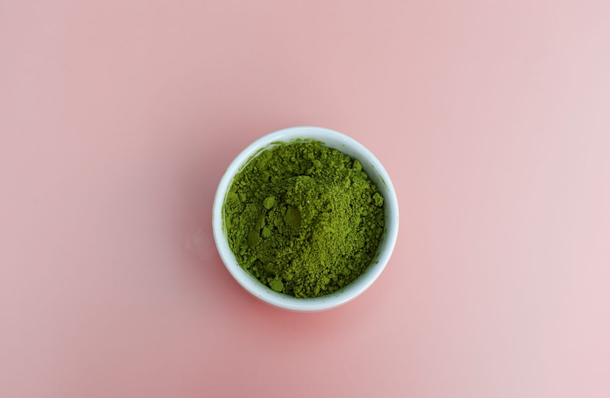 cup of powdered green tea