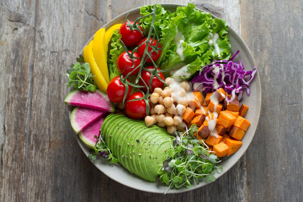 bowl of salad with lots of vegetables
