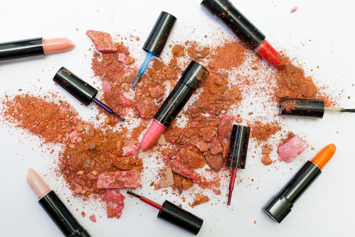 assorted makeup and lipstick