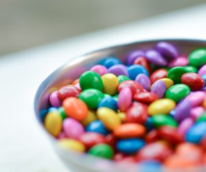 close up of a a bowl of sugar candies