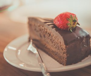 decadent chocolate cake with a strawberry