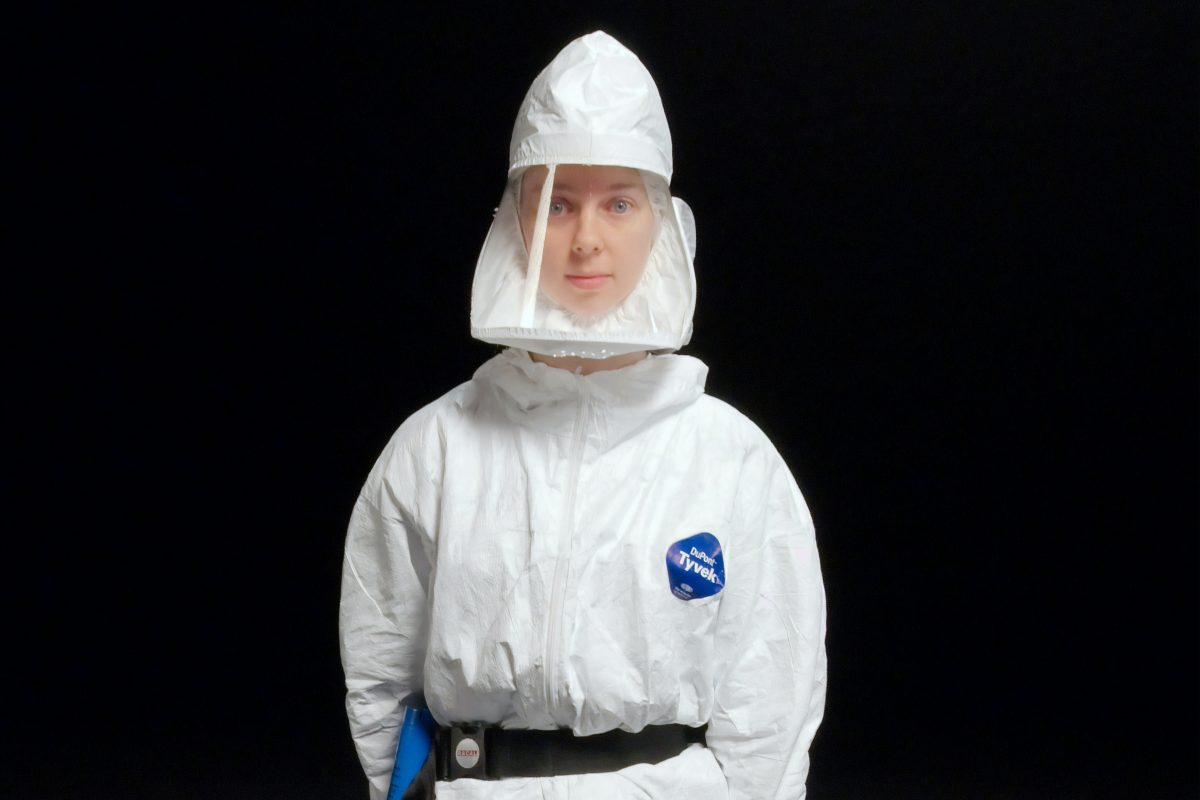 woman wearing personal protective equipment