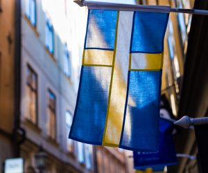 Swedish flag hanging