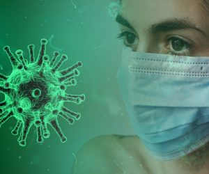 coronavirus and a person with a mask