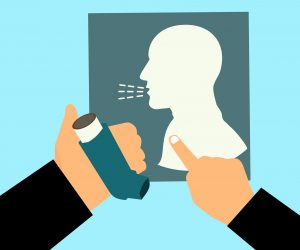 illustration of a person holding an inhaler