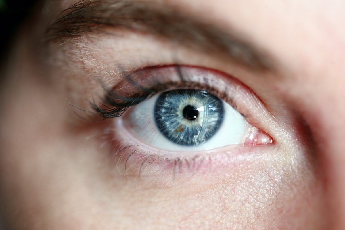 close up of a woman's blue eye