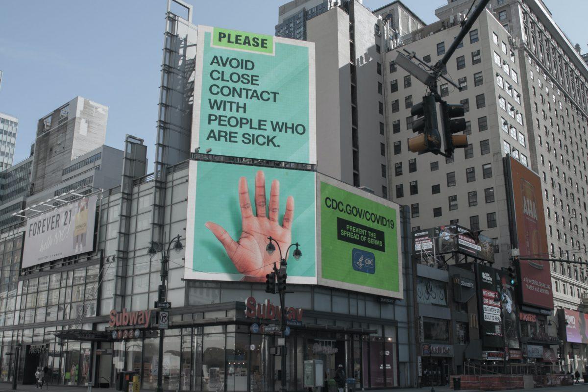 billboard of coronavirus information