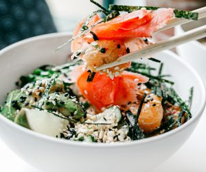bowl of seaweed and salmon salad