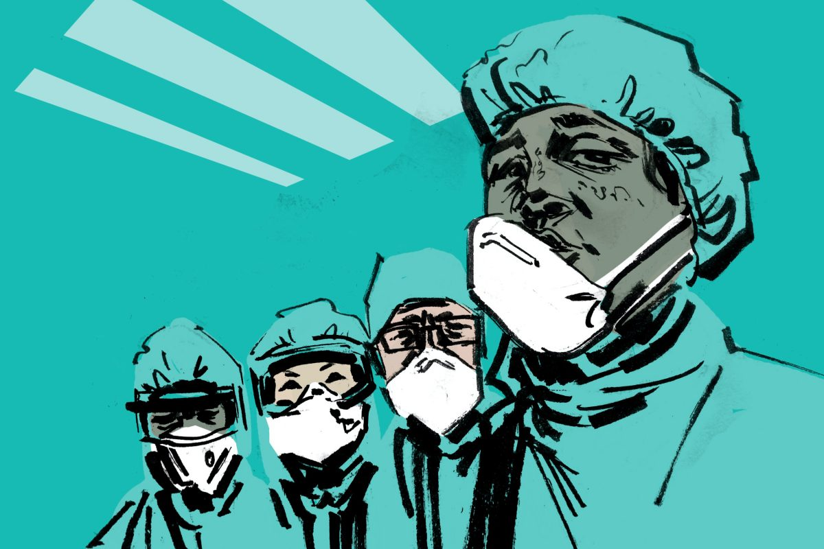 illustrated image of surgeons wearing personal protective equipment