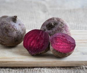beet root cut up on a cutting board