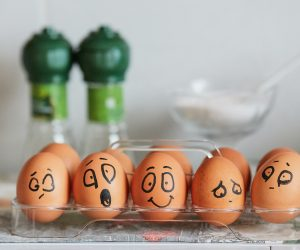 eggs with faces on them