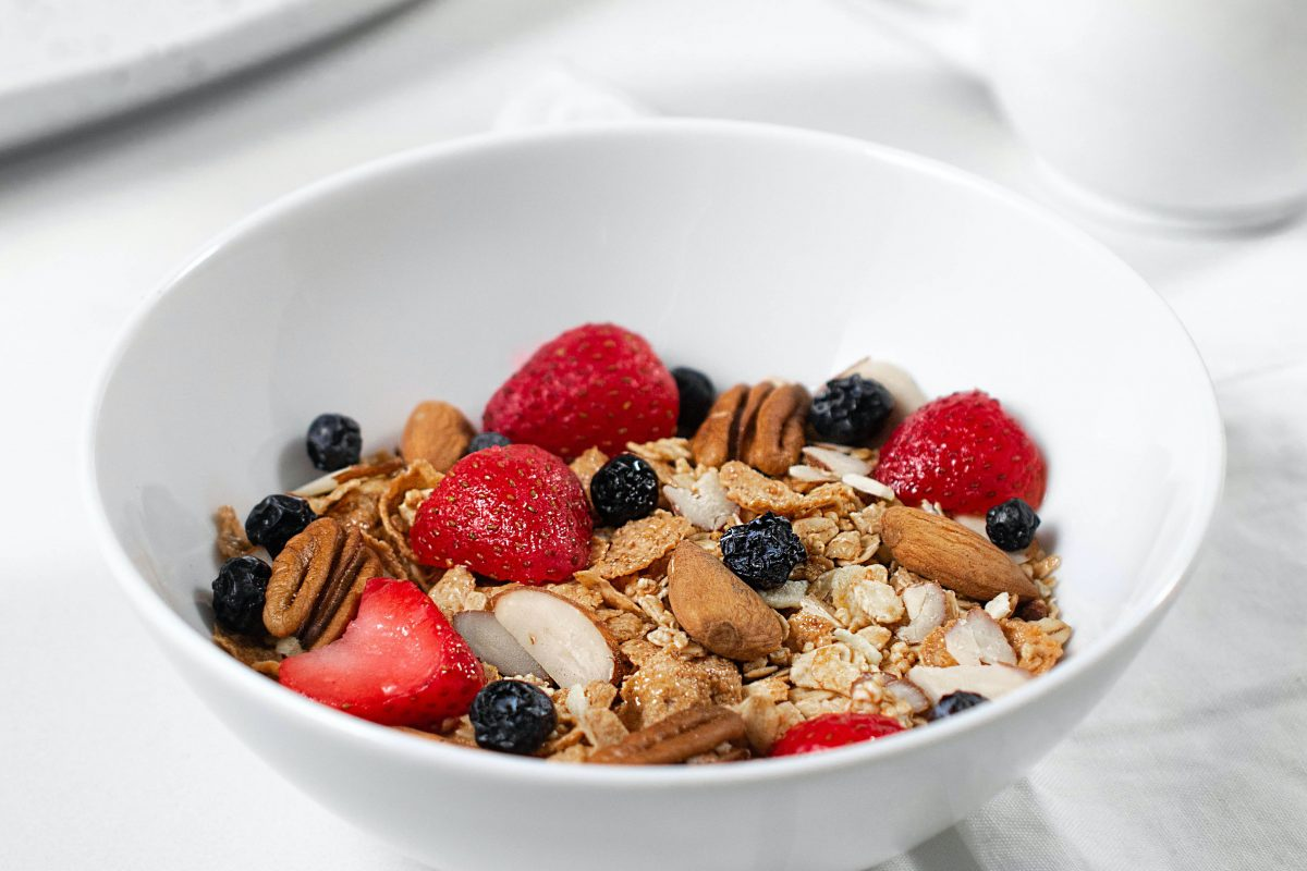 bowl of cereal in a white bowl