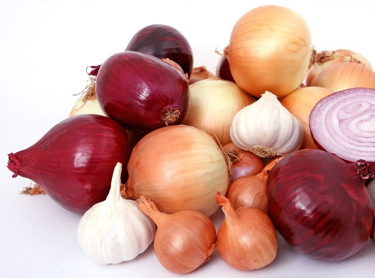 pile of various onions against a white backdrop